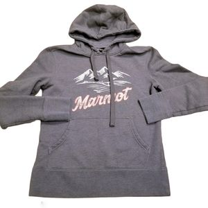 Marmot Spell Out Logo Mountain Print Hoodie